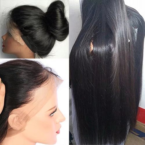 Furdith Hair Unprocessed Brazilian Perruque Cheveux Humain Full Lace Wigs Silky Straight Sans Colle 130% Density Lace Wigs with Baby Hair (14 inch,1B)