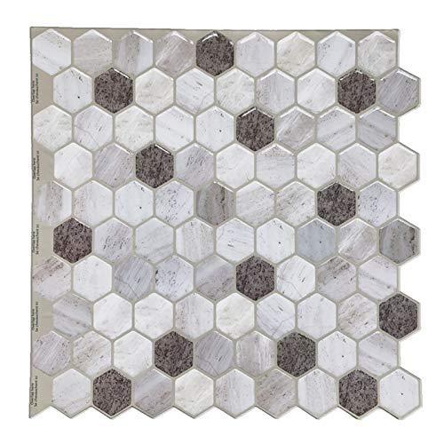 ZXF Pegatinas de baldosas 4 Piezas de Piedra 3D del Mosaico del azulejo despegar y Pegar Protector contra Salpicaduras removible Auto Adhesiva Pared de la Etiqueta engomada DIY Cocina Baño Decoración