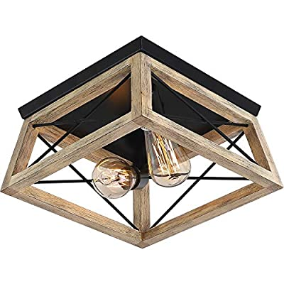 Rustic Flush Mount Ceiling Light Fixture, 2-Light Metal and Solid Wood Square Industrial Ceiling Lighting Fixtures for Farmhouse Hallway Living Dining Room Bedroom Kitchen Balcony Entryway