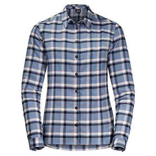 Jack Wolfskin Damen Light Valley Hemd, bluewash Checks, XS