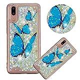Glitzer Hülle für Huawei P20,Flüssigkeit Silikon HandyHülle für Huawei P20,Moiky Luxuriös Mode Blau Schmetterling Muster Liebe Herzen Treibsand Diamant Weich Gummi Hülle -