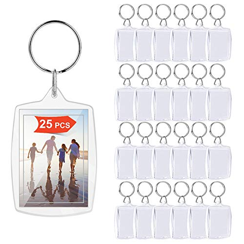 XCOZU Lot de 25 porte-clés photo en acrylique transparent double face pour photos, cadre photo porte-clés avec anneau fendu personnalisé pour clés, travaux manuels, cadeaux