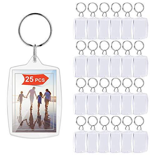 XCOZU Lot de 25 porte-clés photo en acrylique transparent avec double face pour photos, cadre photo avec anneau fendu personnalisable pour clés, travaux manuels, cadeaux