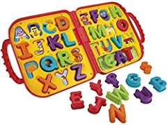 Easy storage Take-along carry case 26 colorful letters Includes 26 letters and fold-up carry case Age 2–4Y