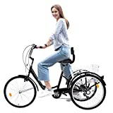 WSSW New Tricycle Bike 1/7 Speed 3-Wheel for Shopping W/Installation Tools Three-Wheeled Bicycle for Men and Women (Black)