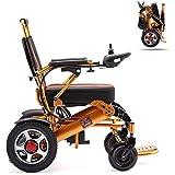 SKSNB Wheelchair Folding Electric Wheelchair, Lightweight Wheelchair All Terrain Power Scooter Dual Motor Power Chair 12A Lithium Battery 15Km Aluminum Alloy