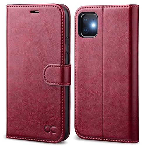 OCASE iPhone 11 Hülle Handyhülle [Premium Leder] [Standfunktion] [Kartenfach] [Magnetverschluss] Tasche Flip Hülle Cover Etui Schutzhülle lederhülle flip case für iPhone 11 Burg&y