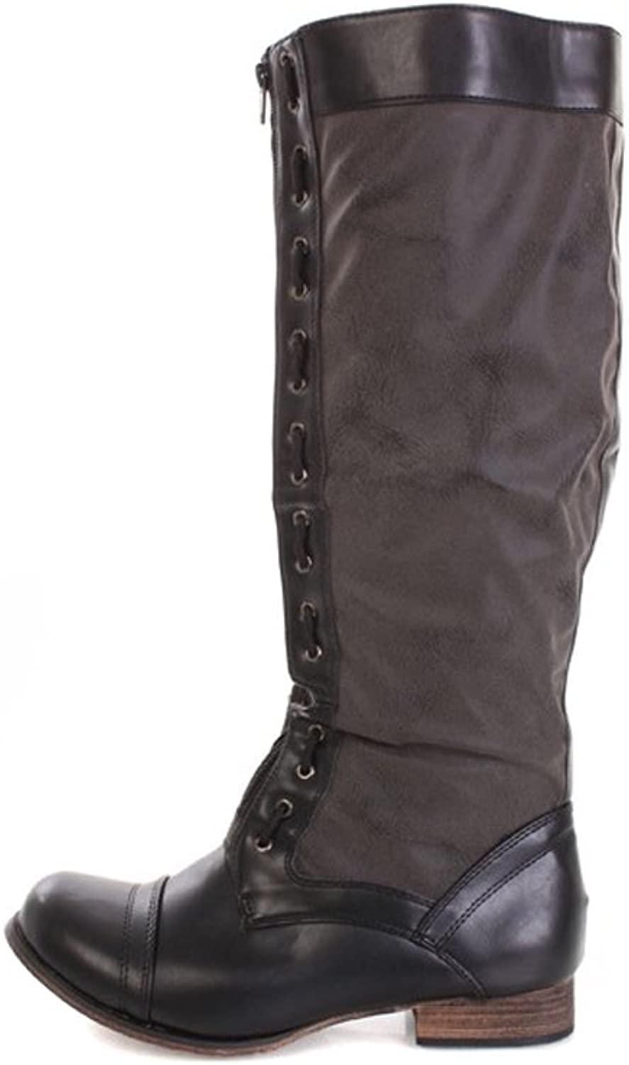 Fourever Funky Black Faux Distressed Leather Woven Trim Zipper Front Riding Boots
