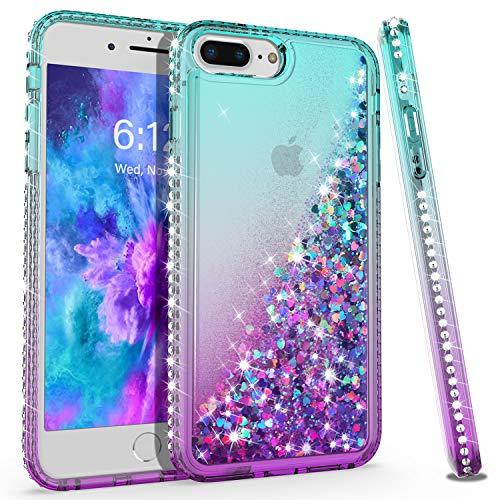 KULECase Glitter iPhone 7 Plus, iPhone 8 Plus, iPhone 6 Plus Diamond Phone Case, Floating Liquid Quicksand Protective Phone Cover, Stylish Elegant for Women Girls (Sky Blue/Purple)