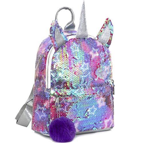 MOOKLIN ROAM Kinderrucksäcke, Einhorn Pailletten Tasche, Mädchen Schulrucksack Umhängetasche, Rucksack für Kinder Mädchen Damen - für Schule Reisen Freizeit (Mehrfarbig)