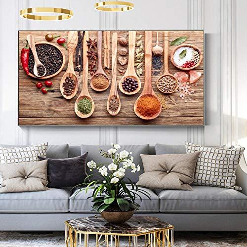 Wieoc Spezie Colorate E Cucchiaio in Dipinti su Tela da Tavolo Cucina A Tema Arte della Parete Decor Food Concept Stampe su Tela retrò 40X80Cm