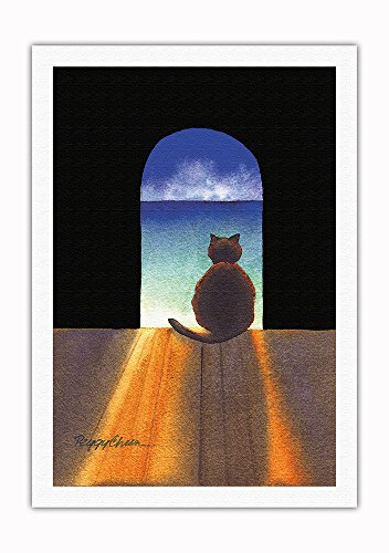 Boo in Contemplation - Hawaiian Black Cat (ʻeleʻele Popoki), Sea (Kai) - from an Original Hawaii Watercolor Painting by Peggy Chun - Fine Art Rolled Canvas Print 27in x 40in
