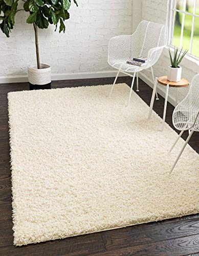 Unique Loom Solo Solid Shag Collection Modern Plush Pure Ivory Area Rug (7' 0 x 10' 0)