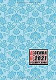 Agenda 2021 Planificador A5: Diseño de Portada Floral Azul - Bonitas Agendas con Planificador semanal y mensual - Pequeña y de bolsillo para llevarla ... eventos y fechas importantes a semana vista