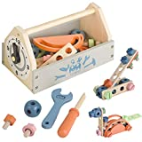 Wooden Tool Toy Toolbox Toddler Educational Construction Kids Toys Play...