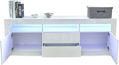 TV Unit Cabinet Storage Entertainment High Gloss Front 2 Drawers & 2 Doors 160cm Length White