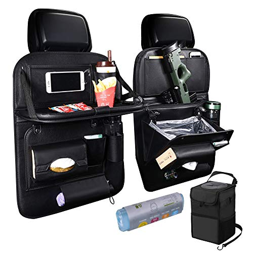 4 in 1 PU Leather Car Back Seat Organizer and Protector (2 Pack) with Foldable Table Tray, Trash can and Storage for Kids. Color: Black, Bundle with Front seat Trash can and Trash Bags.