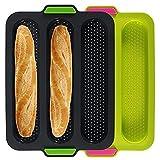 Pan de Silicona Lata para Hornear, 3 Ranura Baguette para Hornear Pan para Hornear Lata de Pan Antiadherente con Mango para Hornear panes francesas de Pan de Pan Rollos de Pan (Color : Green)