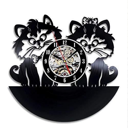 qweqweq Lindo Gato Reloj de Pared diseño Moderno Sala de Estar decoración 3D Disco de Vinilo Reloj de Pared decoración del hogar