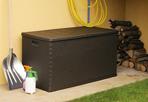 XL Toomax Kissenbox Z162 - braun in Polyrattan-Optik 420 Liter Inhalt - wetterfest und abschließbar