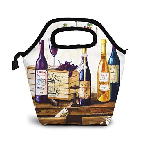 Bolsa Térmica Comida Bolsas De Almuerzo para Mujeres Hombres Niñas Niños Bolsa Isotérmica De Almuerzo Bodegón Botellas Vino