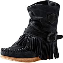 Auniemifly Rome Retro Women's Round Toe Flock Short Boot Ladies Buckle Fringe Ankle Boots Casual Flat Shoes