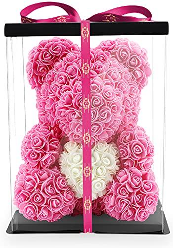 NADIR Blumenbär mit Herz/inklusive vorverpackter Geschenkbox Größen/Valentinstag Muttertag Geburtstag Jahrestag Jubiläen Infinity Rosebear Bär mit Rosen Flower Teddy Teddybär (Pink Herz, 40 cm)