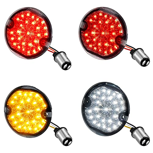 NTHREEAUTO 3 1/4 Inch LED Turn Signals Blinkers Kit 1157 Flat Smoked Lens Brake Running Light Front Rear Compatible with Harley Road King Electra Glide Ultra Classic Heritage Softail