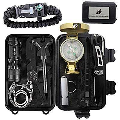 ECHI Outdoor Survival Tools, 10 in 1 Multi-Purpose Outdoor Emergency Survival Security Defense Gear, Kits for Boy Scout and Scoutcamp from ECHI