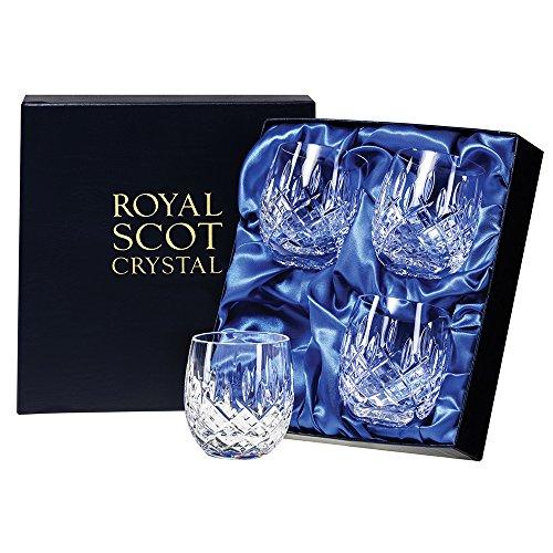 Royal Scot Crystal London Cristal 4 Gobelets Corps Présentation dans une boîte