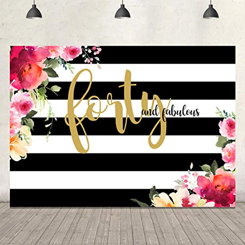 Forty Birthday Backdrops for Party Black and White Stripe Photography Background 7x5ft Watercolor Flowers Gold 40th Birthday Backdrop Party Decorations Women Portrait Cake Table Photobooth Backdrop