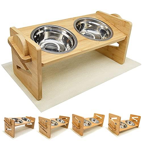 Ciotola per cani,Stazione di Alimentazione in bambù Regolabile in Altezza Ciotola per Cani 2 Ciotole in Acciaio Inossidabile Dispenser di Cibo rialzato per Cani e Gatti di Piccola, Media Taglia