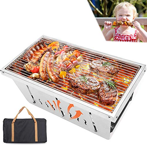 CHARAPID Portable Charcoal Grill Stainless Steel Foldable Outdoor BBQ Grill for Camping Picnics and Backyard Cooking Carry Bag Included