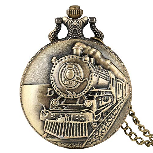 Retro Train Locomotive Engine Pattern Quartz Pocket Watch Bronze Steampunk Necklace Pendant Chain Collectible Gift for Men Women for Husband on Anniversary (Color : B)