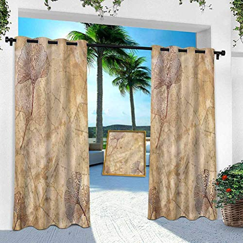Aishare Store Patio Outdoor Curtains, Beige,Vintage Leaves Grunge, 100' x 95' Window Treatment Panel for Porch Balcony Pergola Gazebo(1 Panel)