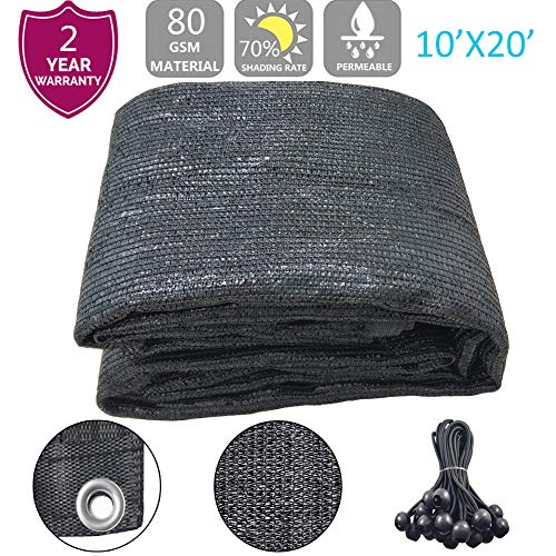 F.O.T 70% Sunblock Shade Cloth Anti-Aging 10ftx20ft Sun Mesh UV Resistant Net, Garden Shade Mesh Tarp for Plant Cover, Greenhouse, Barn or Kennel, Flowers, Plants,Used for 3 Years or Even Long