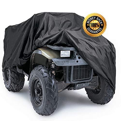 POLARIS HONDA FOURTRAX YAMAHA ATV RANCHER SUZUKI FOREMAN KAWASAKI PREMIUM PRODUCTS SUPER HEAVY DUTY 600 DENIER MARINE GRADE WATERPROOF ATV COVER FITS UP TO 100 L ATV COVERS 4-WHEELER 4X4