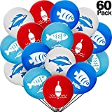60 Piezas Globos de Pescado Globos de Pescado Bobber Globos Impresos de Pescado para Suministros de Fiesta de Ducha de Bebé de Cumpleaños con Temática Oceánica