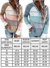 GOSOPIN Womens Casual Soft Cozy Pullover Tops Color Block Long Sleeve Tunic Sweatshirt Tops Drawstring Hoodie Blue Plus Size UK 18 #5