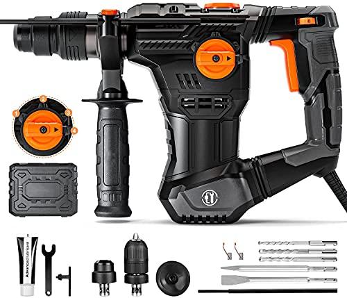 Martillo Percutor, Martillo Perforador, 5J Energía de Impacto, SDS Plus Mandril, 4 Funciones en 1 con Embrague de Seguridad, Utilizado para Concreto, Metal y Piedra - TRH02A