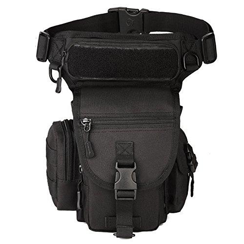 Bolso Hombre Pierna Militar táctico Impermeable de Nylon Paseo al Aire Libre Bolso de la Gota de la Gota de la Motocicleta Que Monta Multiusos Fanny cinturón de la Cadera Paquete de Bum (#01Negro)