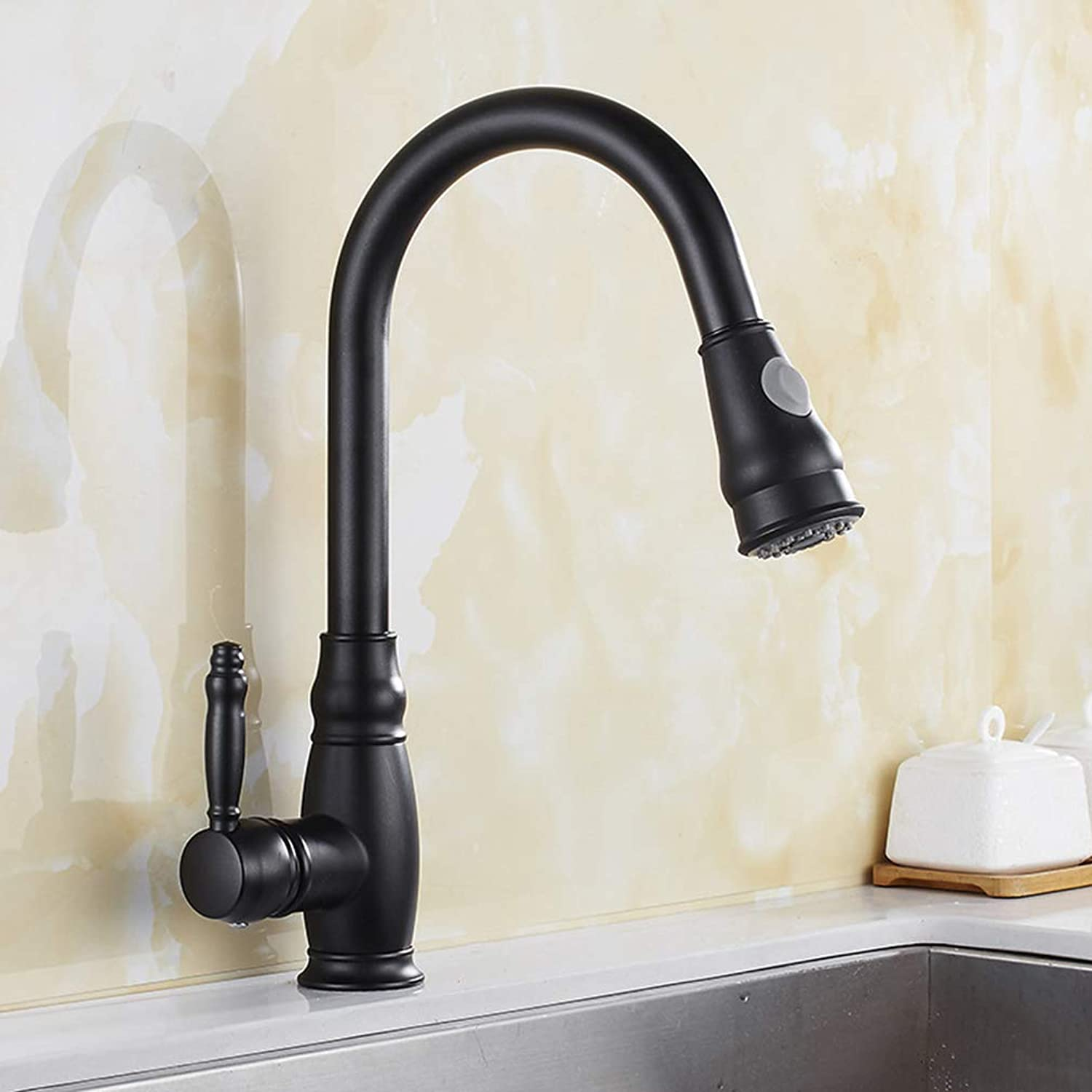 QJIAXING Küchenschaufeln Pull Out Out schwarz Paint Single Handle Hot and Cold Water Mixer Faucet