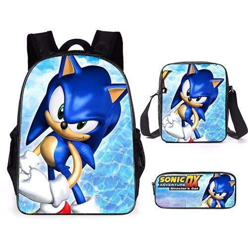 LIJUNQI Sonic - Mochila escolar para niños, 3 unidades, nailon, impermeable, para niños y adolescentes, para portátil, 11, 40 x 30 x 15 cm,