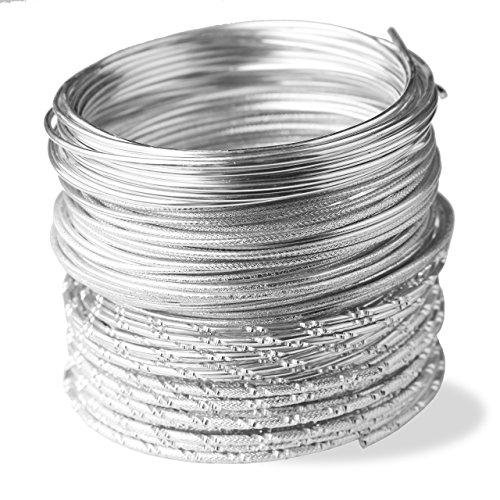 Creacraft Filo di Gioielli Cinque Stili d'Argento: 5 Rotoli (per 5 Metri) - Filo d'alluminio 2mm