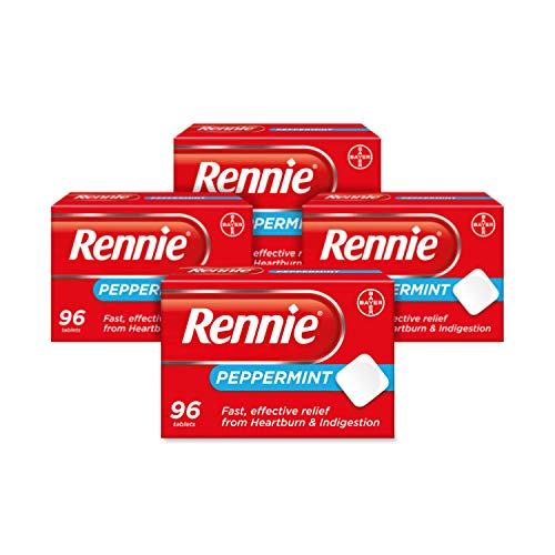 Rennie Antacids, Peppermint Flavour Heartburn Relief and Indigestion Tablets, Fast and Effective Relief for Acid Reflux, 4 Packs of 384 Tablets