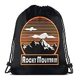 QUEMIN Rocky Mountain Unisex Drawstring Beam Port Bag, Moda Gimnasio Deportes al Aire Libre Mochila de Viaje Bolsas de Hombro de Almacenamiento 14.2 x 16.9 Pulgadas / 36 x 43cm