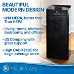 Medify ma-40 2. 0 medical grade filtration h13 true hepa for 840 sq. Ft. Air purifier, 99. 97% | modern design. 12 medical grade h13 filters (higher rated than true hepa) 99. 9% particle removal. H13 true hepa is considered medical grade air filtration, the unit alone is not a medical device. Cleans a room up to 1,600 sq ft in one hour, 840 sq ft in 30 minutes, 420 sq ft in 15 minutes (cadr 330) to make v2. 0 quieter in 'sleep mode' and speed 1 the ionizer is automatically turned off, on speed 2 and 3 it can be turned on/off as needed | carb, energy star & etl certified.