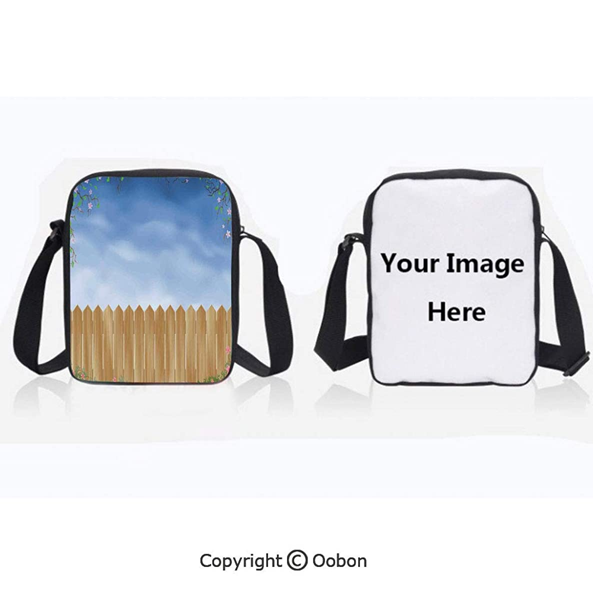 Polyester Anti-Theft Cross-Body Bag Unisex Adult Wooden Garden Plank with Swirled Spring Season Bloom Up Tranquil Landscape Blue Brown Zipper Bucket Anti Theft Bag For Journey