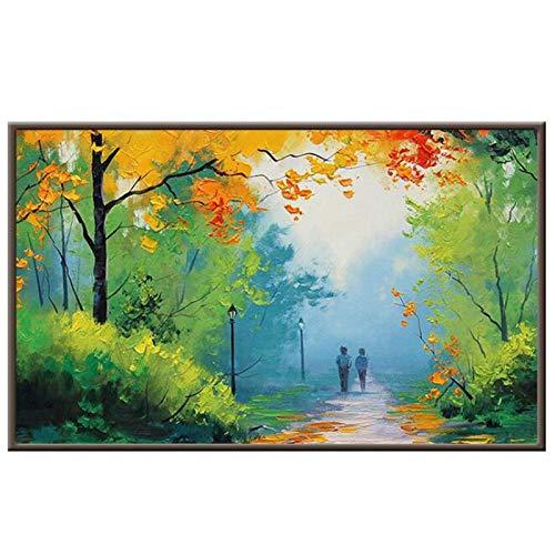 Jcnfa Bunte Wald, Park Straßenlaterne Kunst Design Malerei, Leinwand Wandkunst Poster, Für Schlafzimmer Büro Wanddekor, Canvas Bild, Kein Rahmen (Color : 01, Size : 50 * 75cm/20 * 30inch)