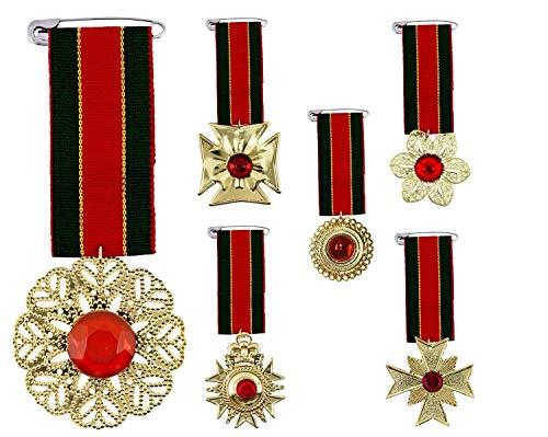 shoperama Orden Gold mit Edelstein Rot am Band Grün/Rot/Gold Ehrenmedaille Auszeichnung Abzeichen Militär Offizier König